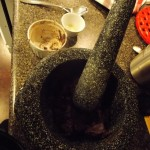 Step 6 - Use Mortar and Pestle : Use mortar and pestle to cool the chocolate and to remove any final fine grinds.