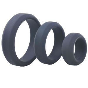 Triple Black Silicone Cock Rings