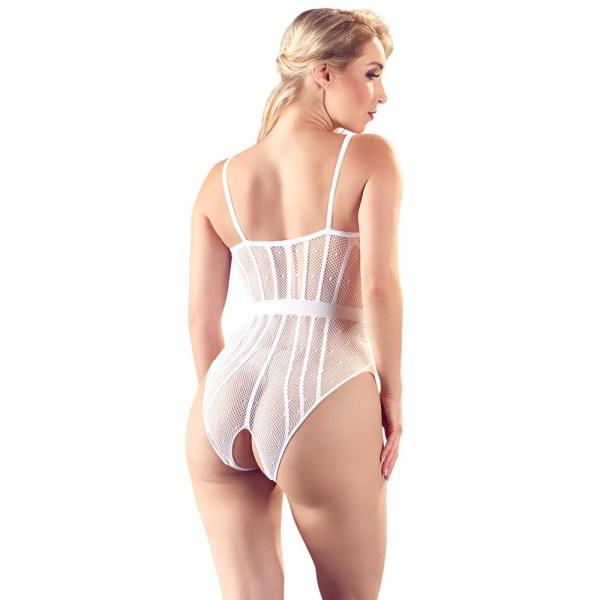 NO XQSE Lace Crotchless Body White UK Size 8-12