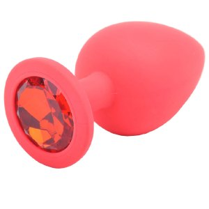 Large Red Jewelled Silicone Butt Plug