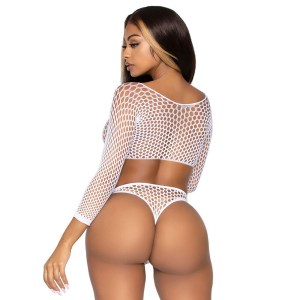 Leg Avenue Top Bodysuit with Thong White UK 8 to 14