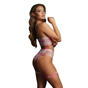 Le Desir Bliss 2 Piece Set With Garters Tie Dye UK 6 to 14