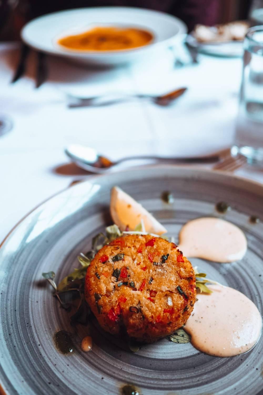 Crabcake with chilli and coriander aioli
