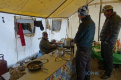 Maila cooking in kithen tent