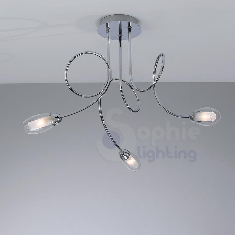 Lampade e lampadari design in offerta a prezzi scontati. Lampadario Moderno Soffitto 3 Luci Bracci Arrotondati Vetro Soffiat