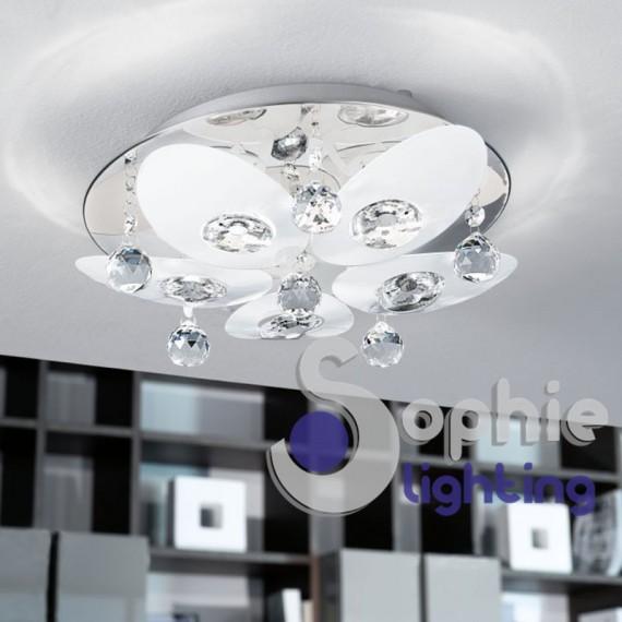 La luce che scaturisce dai lampadari viene filtrata dal pregiato vetro di murano e diffusa in diverse tonalità. Plafoniera Rotonda Design Moderno Petali Bianchi Cristalli Pendenti