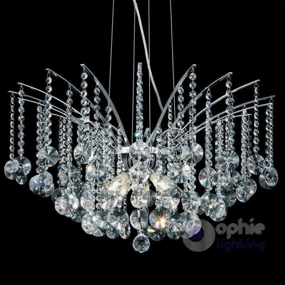Lampadario moderno cascata di cristalli 7 luci bga 2796/pl40 design swarovsky. Lampadario Moderno 8 Luci Pendenti Cascata Cristallo Acciaio Cromo