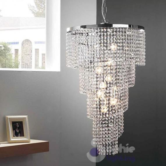 L'elegante design di questo lampadario moderno rettangolare con gocce in cristallo, scintilla da ogni angolazione per decorare con stile la sala, il soggiorno, il ristorante, sale di hotel e molti altri ambienti. Lampadario Cristalli Pendenti Cascata Spirale D50