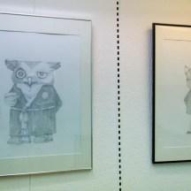 Arts en Balade 2014 exposition Sophie Navas Monsieur Hibou et petit chat