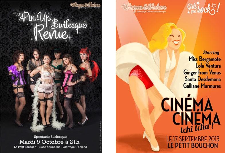Pin up burlesque revue: création d'affiches