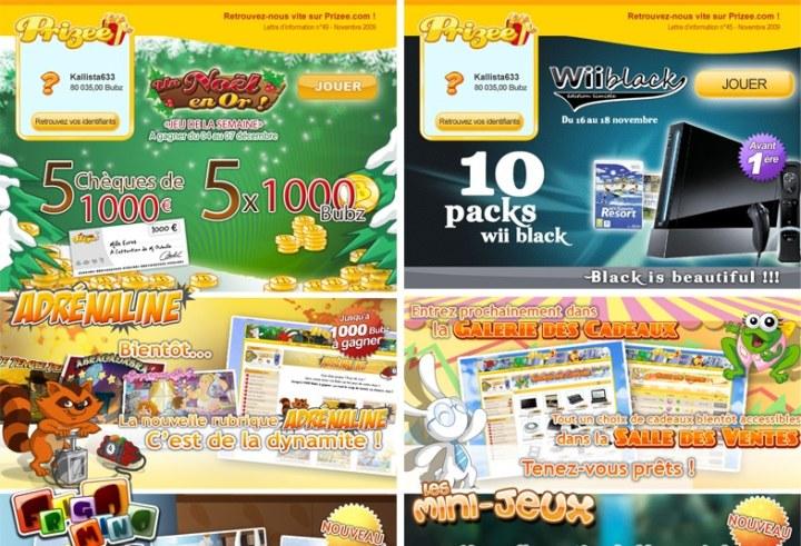 Newsletters Prizee pour événements Noël anniversaires