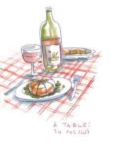 Illustration culinaire, paupiette de veau et bouteille de vin rouge