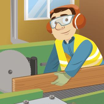 Illustration position de sécurité pour la coupe du bois en scierie