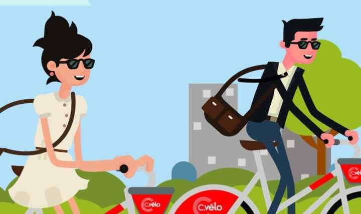 Capture d'écran d'un animation pour la promotion du vélo comme mobilité dans la ville andade Clermont-Ferrand