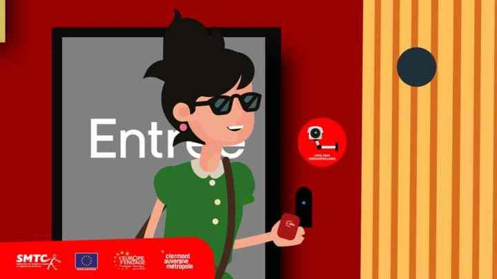 Capture d'écran d'un animation pour la promotion du garage à vélo près de la gare de Clermont-Ferrand