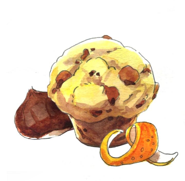 illustration aquarelle muffin aux marrons glacés et orange