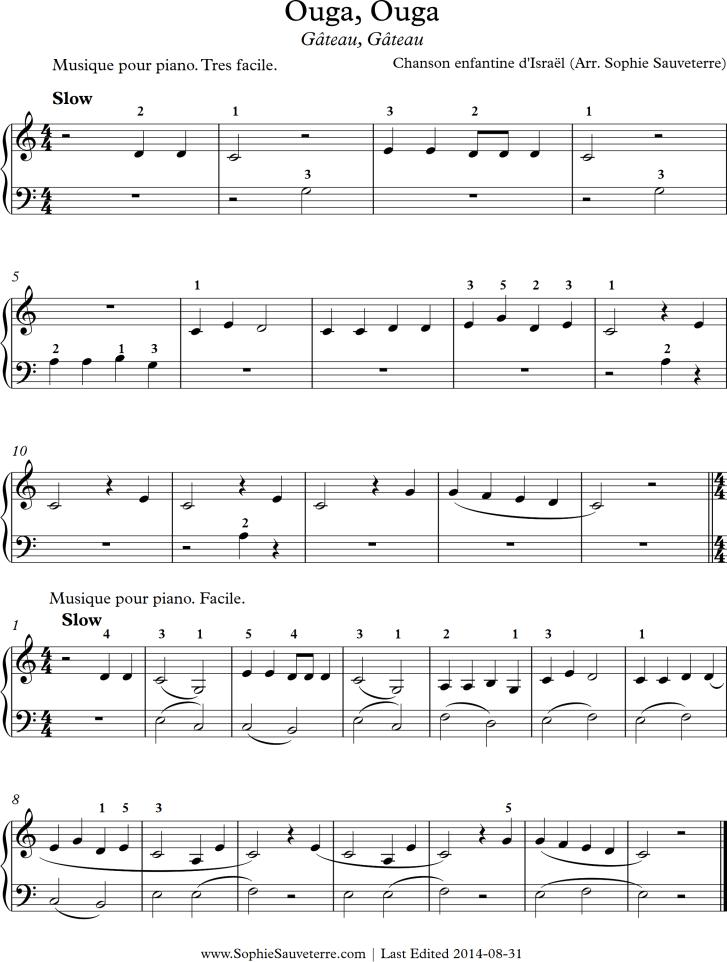 Piano easy piano sheet : Ouga, Ouga ou Gâteau, Gâteau - Chanson enfantine d'Israël - Sheet ...