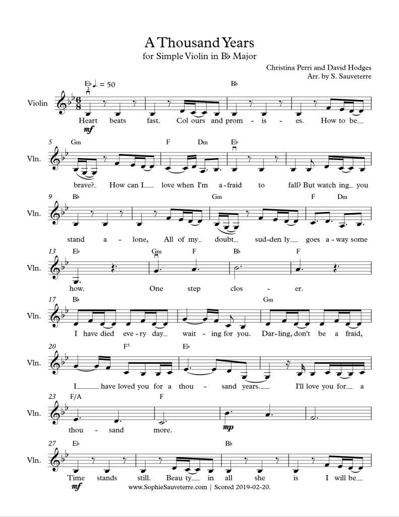 Christina Perri - A Thousand Years - Arranged for Simple