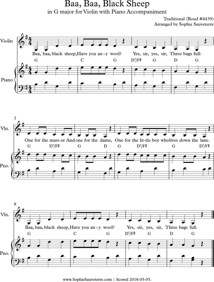 Baa Baa Black Sheep Traditional Childrens Song Sheet Music