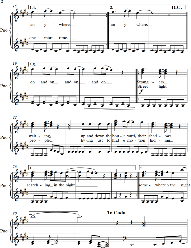 Dont Stop Believin From Journey Sheet Music Arrangement For