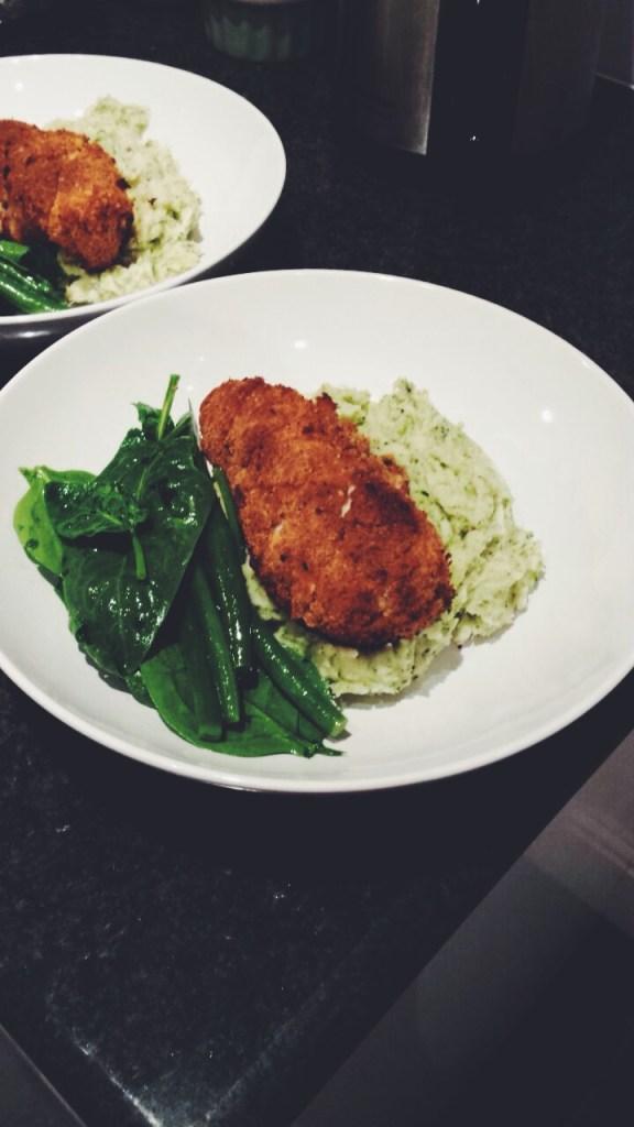 Homemade Chicken Kievs with Broccoli Mash