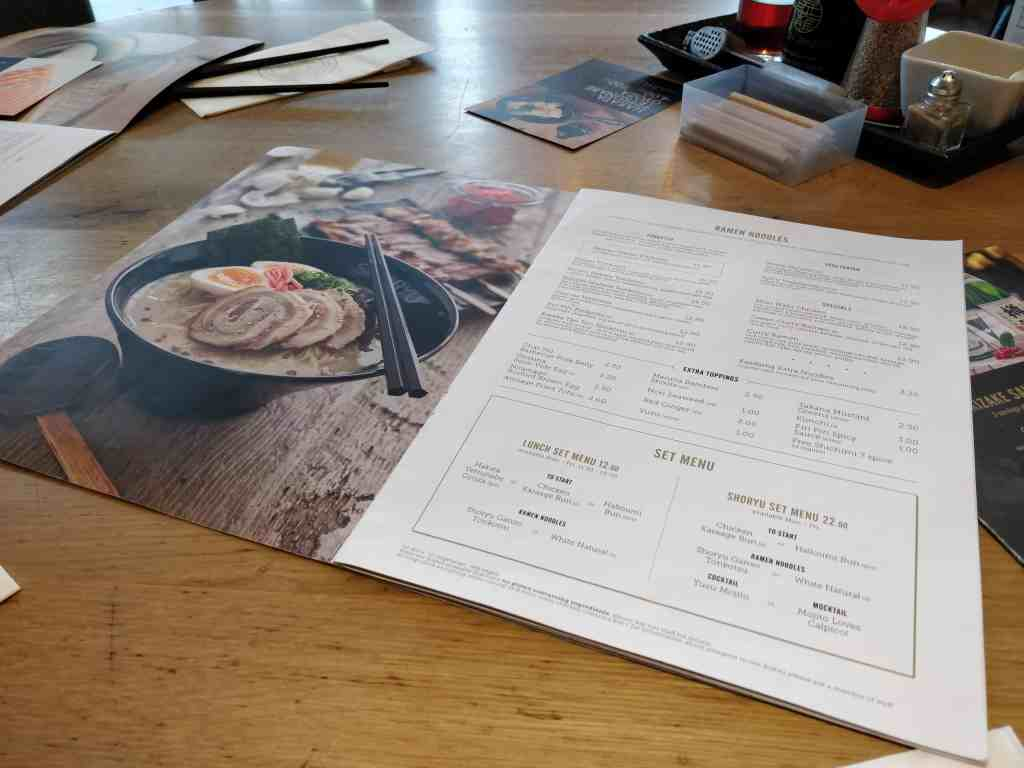 Shoryu Ramen Menu