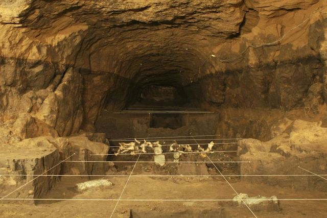 Handout photo of a tunnel thay may lead to a royal tombs discovered at the ancient city of Teotihuacan