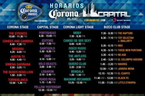 Horarios para el Festival Corona Capital