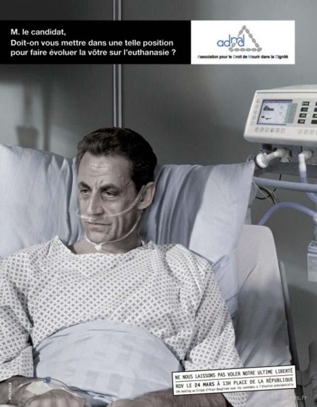 Sarkozy 'moribundo' en polémica campaña sobre la eutanasia