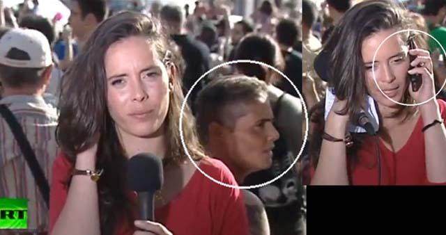 A corresponsal de TV le roban su celular en vivo