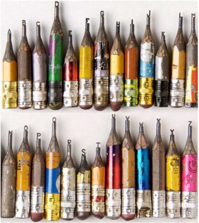 Puntas de lápices convertidas en pequeñas esculturas