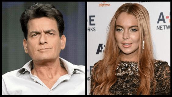 Charlie Sheen y Lindsay Lohan en Scary Movie 5