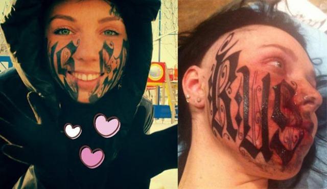 Novia se tatúa nombre de su amado ¡en la cara!
