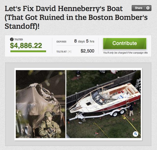 Juntan dinero para reparar la lancha donde se escondía el sospechoso de los ataques en Boston