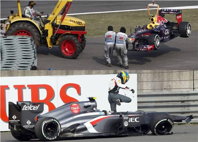 Choques en China dejan sanción a Webber y a Gutiérrez