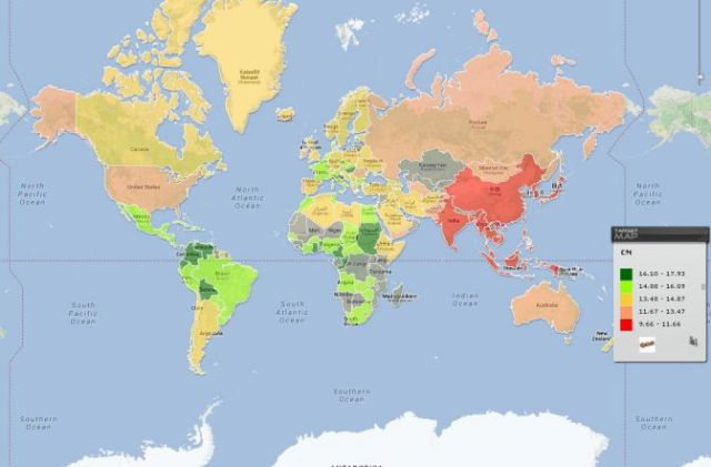 ¿Vacaciones? Un mapamundi muestra el promedio del tamaño de los penes alrededor del mundo