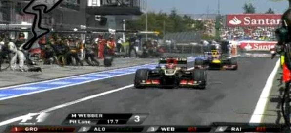 Neumático de Mark Webber impacta a camarógrafo