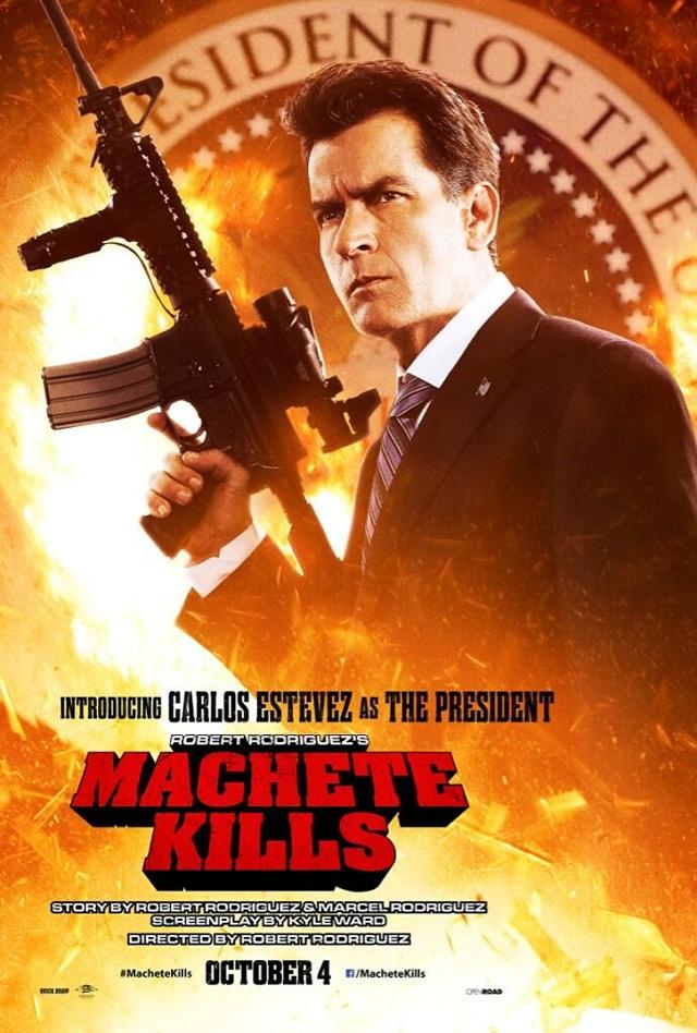 Nuevo póster de Machete Kills con Charlie Sheen, perdón, Carlos Estevez