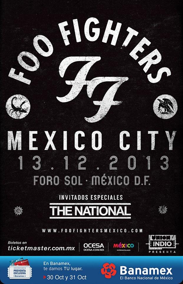 Arranca la preventa de boletos para los Foo Fighters y The National en México