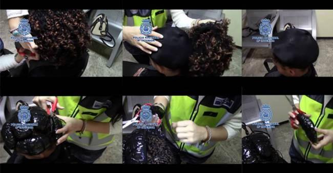 Detienen a mujeres en España con cocaína oculta en pelucas
