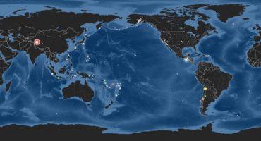 Un mapa muestra los sismos que han ocurrido en el mundo durante el 2014