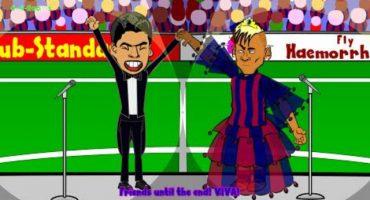 La presentación de Luis Suárez en el Barcelona... hecha caricatura