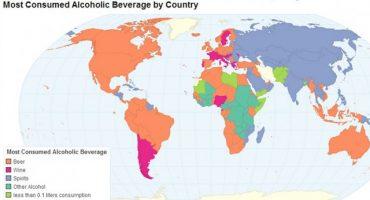 Un mapa nos muestra las preferencias alcohólicas del mundo