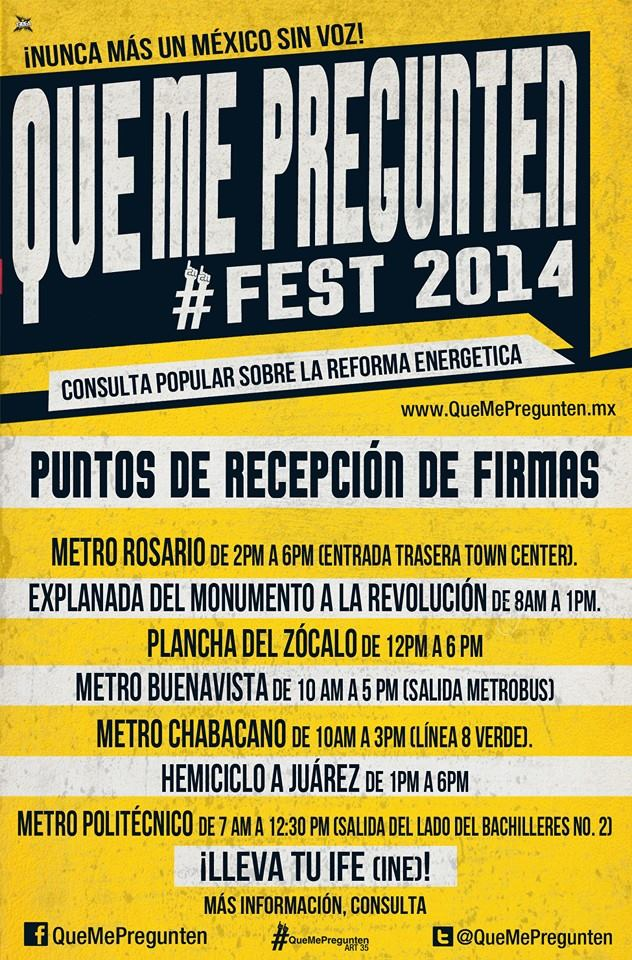 Asiste mañana al #QueMePregunten Fest en el Foro Sol por una consulta energética