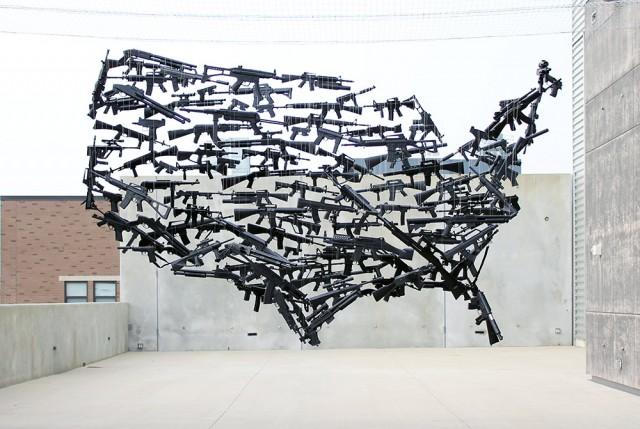El mapa de EE.UU hecho con armas