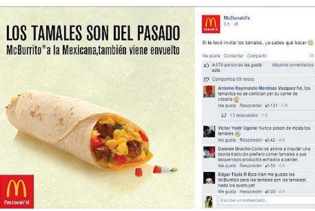 McDonald's ataca a los tamales
