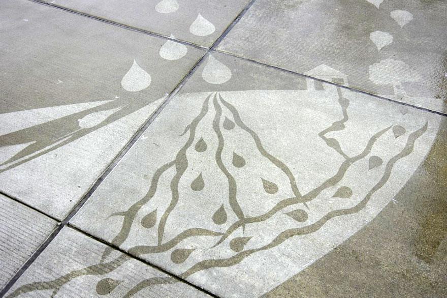 Conoce el graffiti que se activa con la lluvia