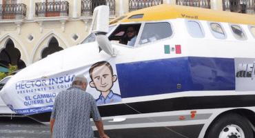 Candidato panista de Colima usa limusina-avión para promocionarse