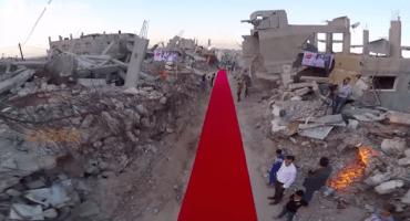 Así es la alfombra roja en un festival de cine en Gaza