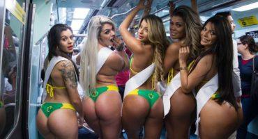 Las candidatas a Miss Bumbum 2015 deleitaron a usuarios del metro